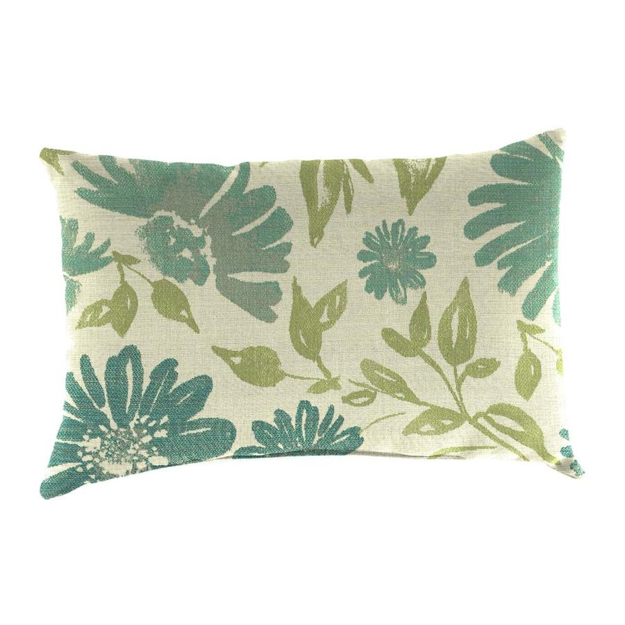 Sunbrella 2-Pack Violleta Baltic Floral Rectangular Outdoor Decorative Pillow