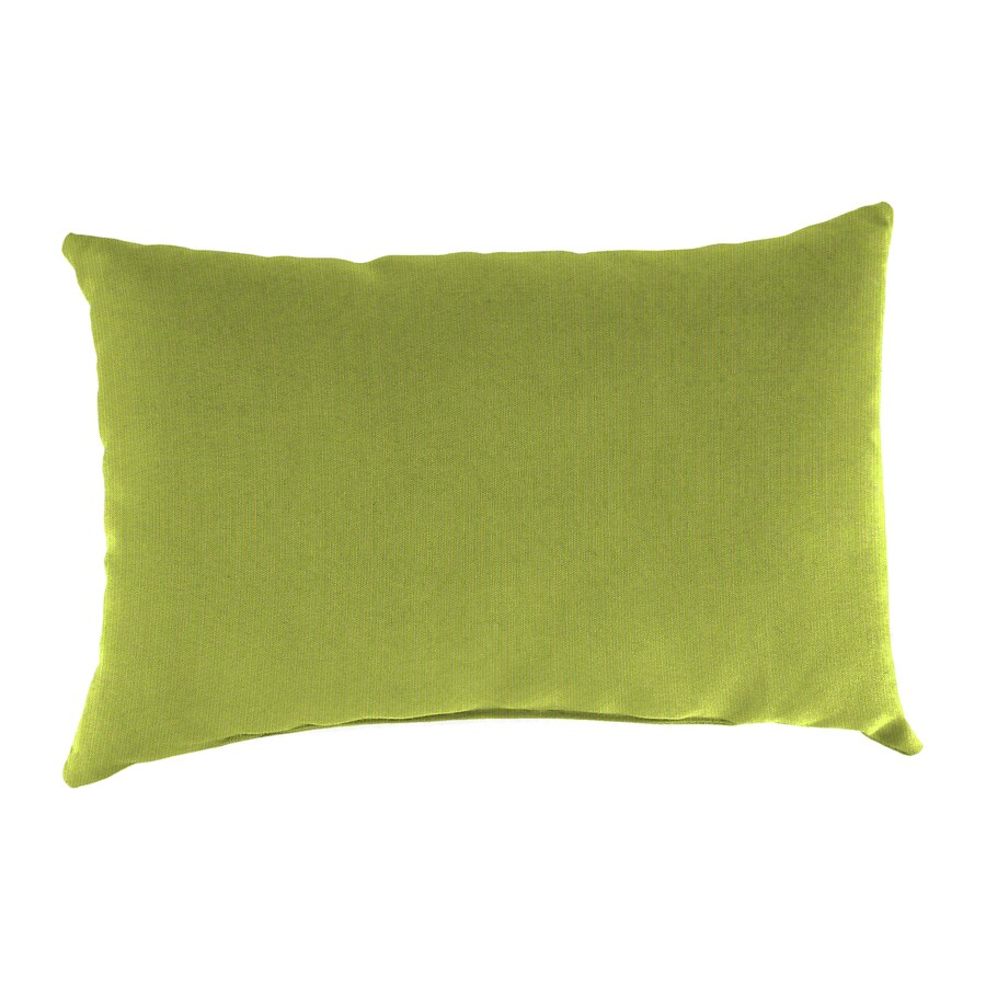 Sunbrella 2-Pack Spectrum Kiwi and Solid Rectangular Throw Pillow Outdoor Decorative Pillow