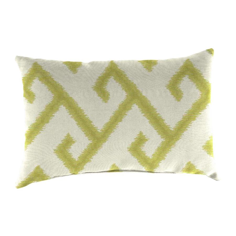 Sunbrella 2-Pack El Greco Avocado and Geometric Rectangular Throw Pillow Outdoor Decorative Pillow