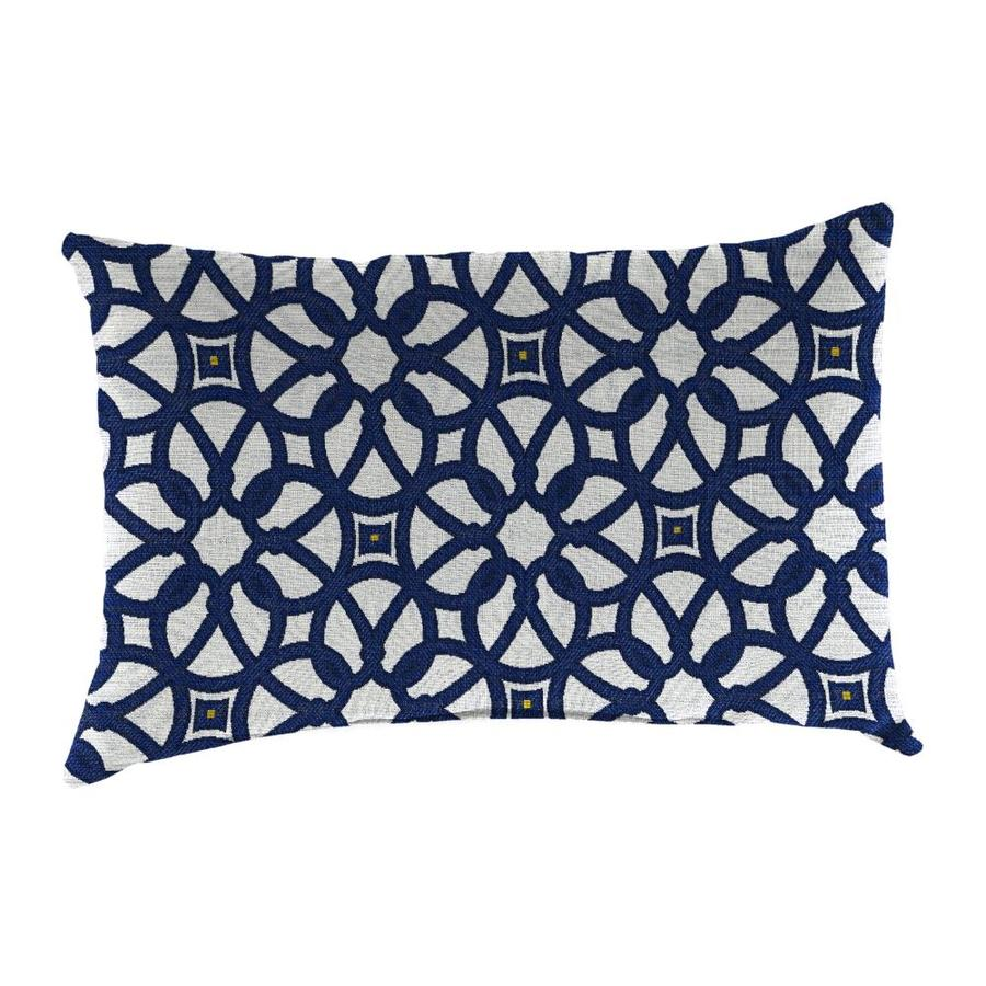 Shop Sunbrella 2-Pack Luxe Indigo and Geometric Rectangular Throw Pillow Outdoor Decorative ...