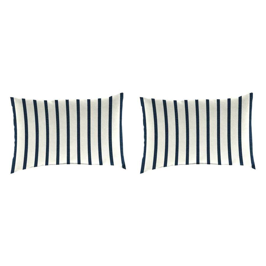 Sunbrella 2-Pack Lido Indigo and Striped Rectangular Throw Pillow Outdoor Decorative Pillow