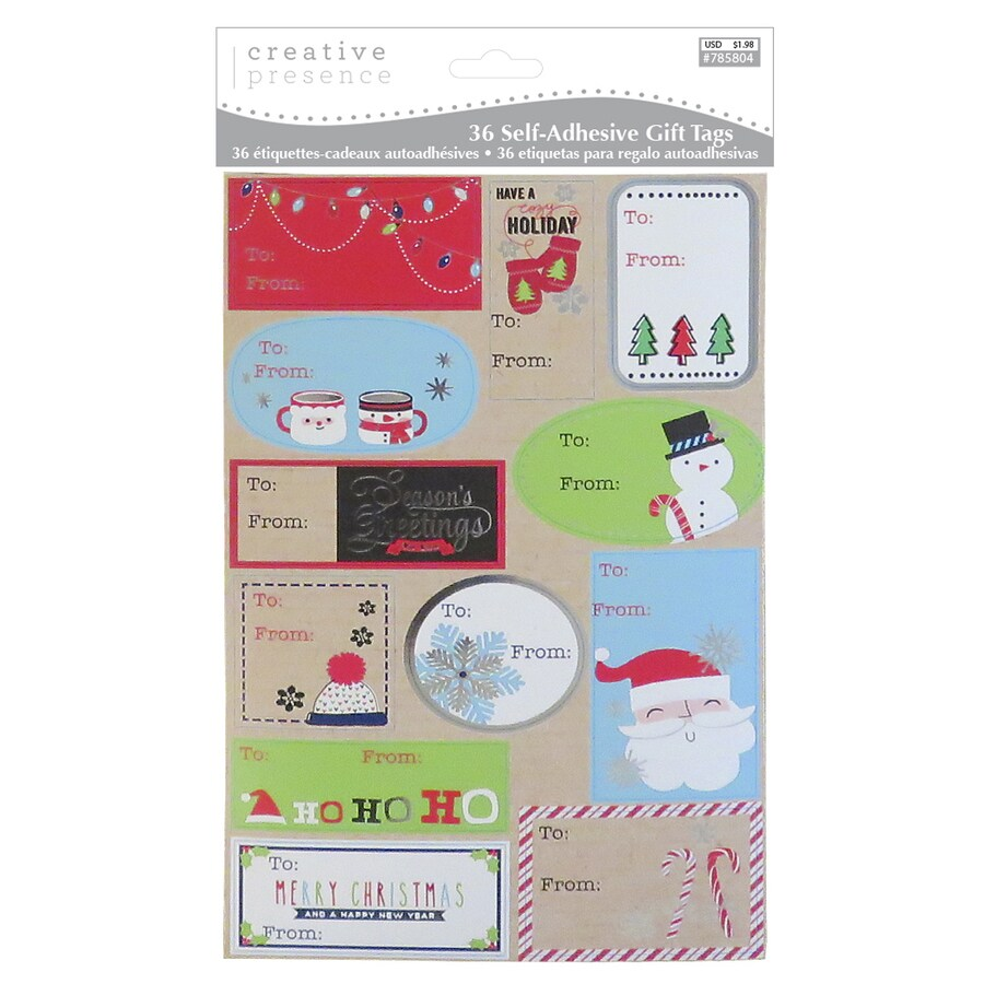 Creative Presence 36-Pack Assorted Christmas Peel And Stick Gift Tag