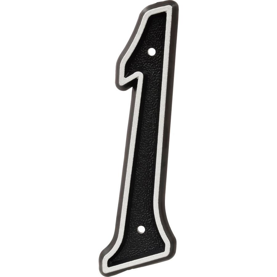Hillman Sign Center 2.1-in Reflective Black House Number 1