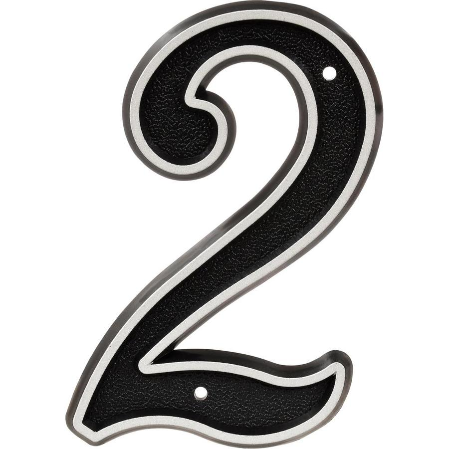 Hillman Sign Center 3.6-in Reflective Black House Number Number 2