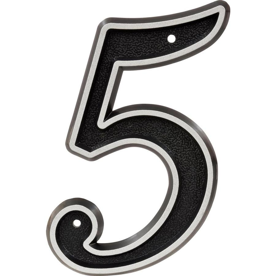Hillman Sign Center 6-in Reflective Black House Number 5