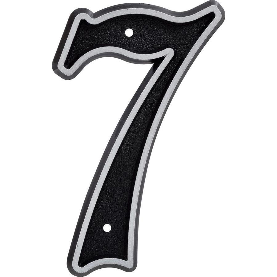Hillman Sign Center 6-in Reflective Black House Number 7