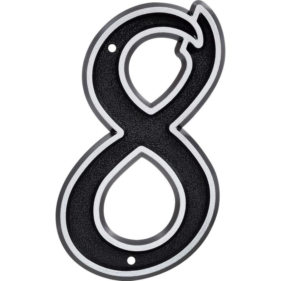 Hillman Sign Center 6-in Reflective Black House Number 8