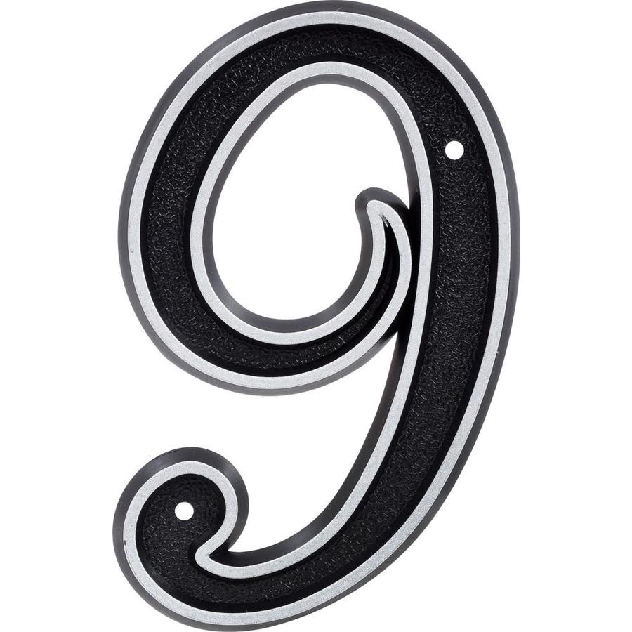 Hillman Sign Center 2.1-in Reflective Black House Number Number 9
