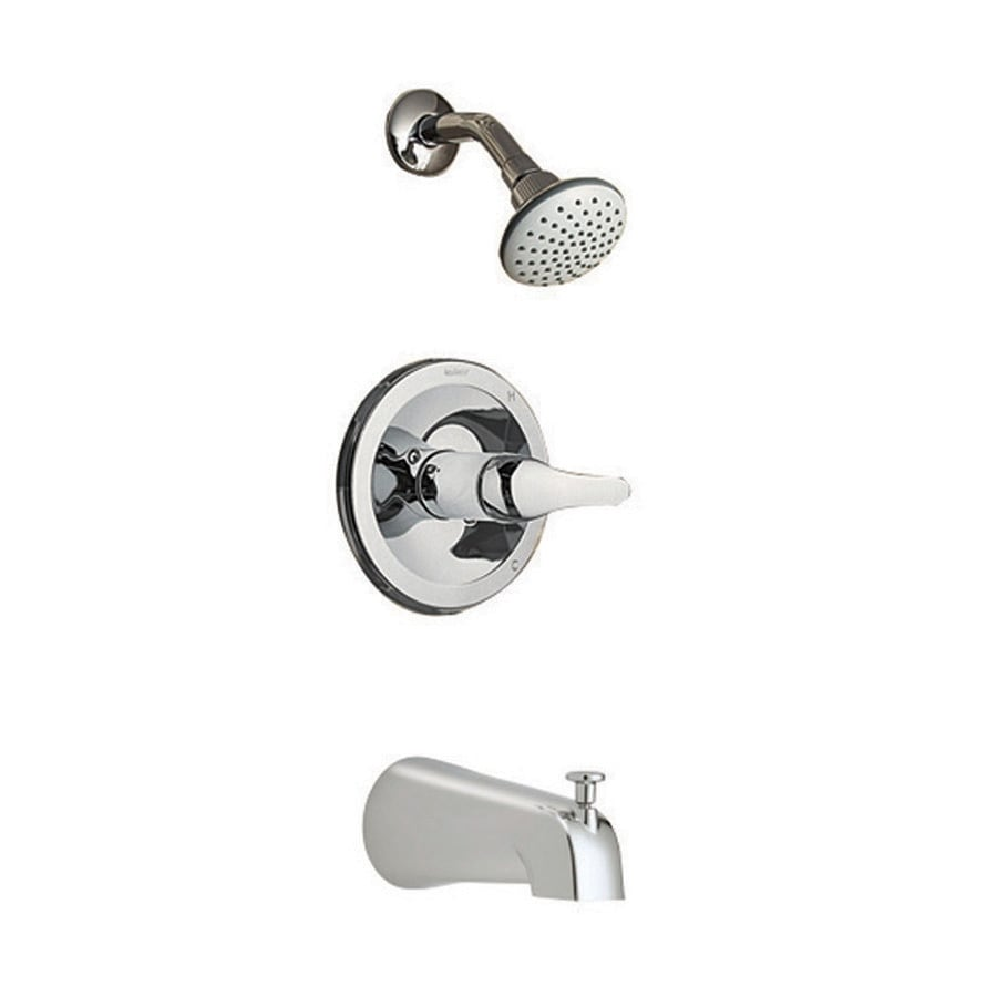 Shop Aquasource Chrome 1 Handle Bathtub And Shower Faucet With Single Function Showerhead At