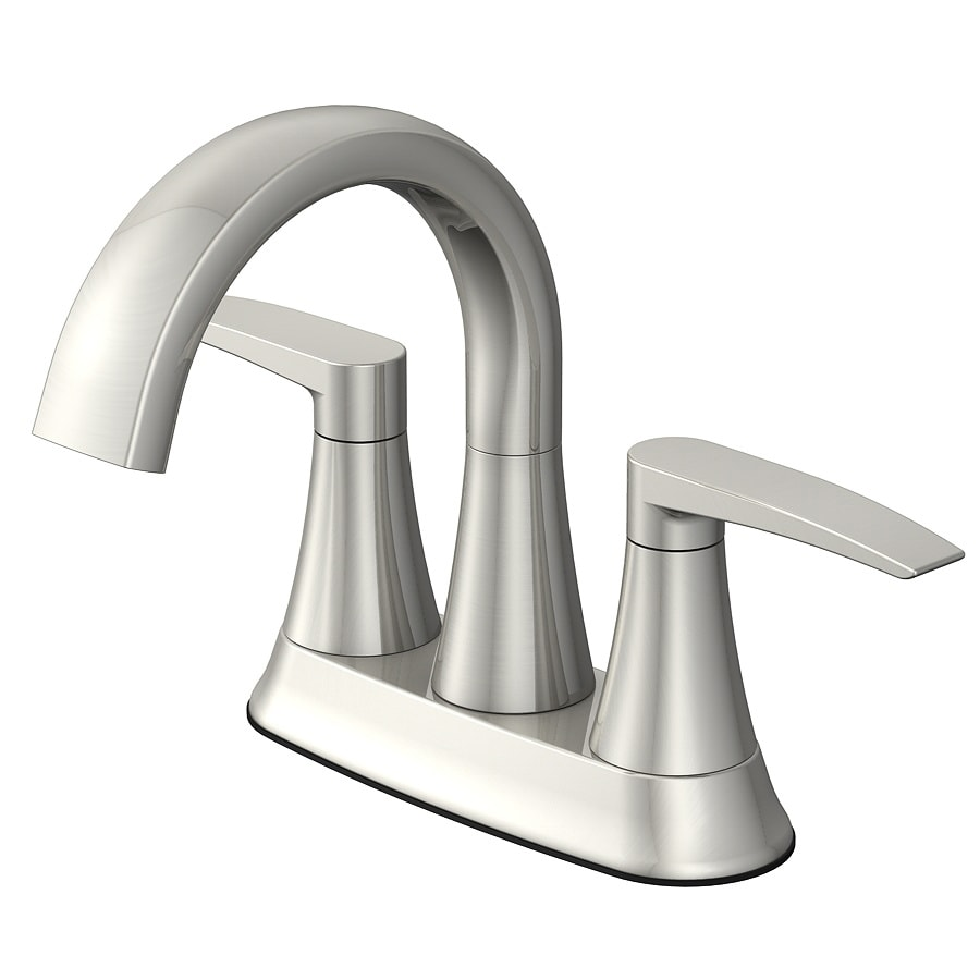 Shop Jacuzzi Lyndsay Brushed Nickel 2 Handle 4 In Centerset Watersense Bathroom Faucet Drain