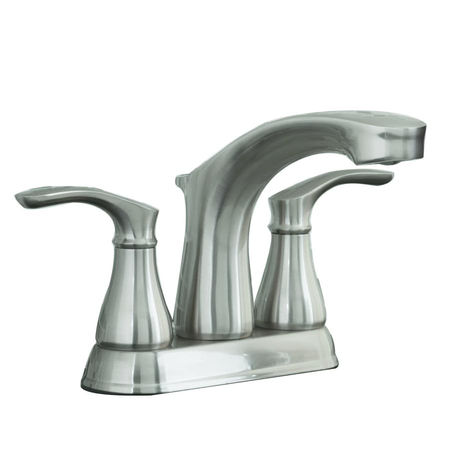 AquaSource Garner Brushed Nickel 2-Handle 4-in Centerset WaterSense Bathroom Faucet with Drain