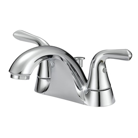 Project Source Chrome 2-handle 4-in Centerset WaterSense Bathroom Sink Faucet with Drain