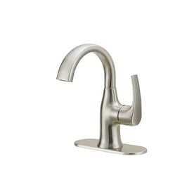 Jacuzzi Lyndsay Brushed Nickel 1-Handle Single Hole/4-in Centerset WaterSense Bathroom Sink Faucet with Drain