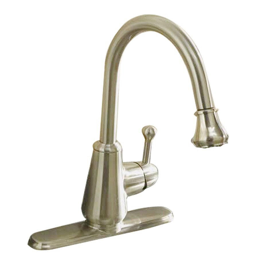 Aquasource Kitchen Faucet: AquaSource Brushed Nickel 1-Handle Pull-Down Kitchen