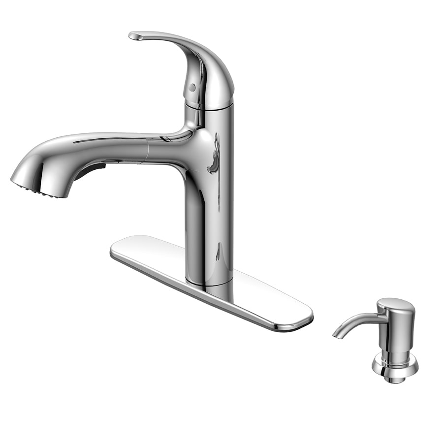 Shop AquaSource Chrome 1-handle Pull-out Deck Mount Kitchen Faucet ...