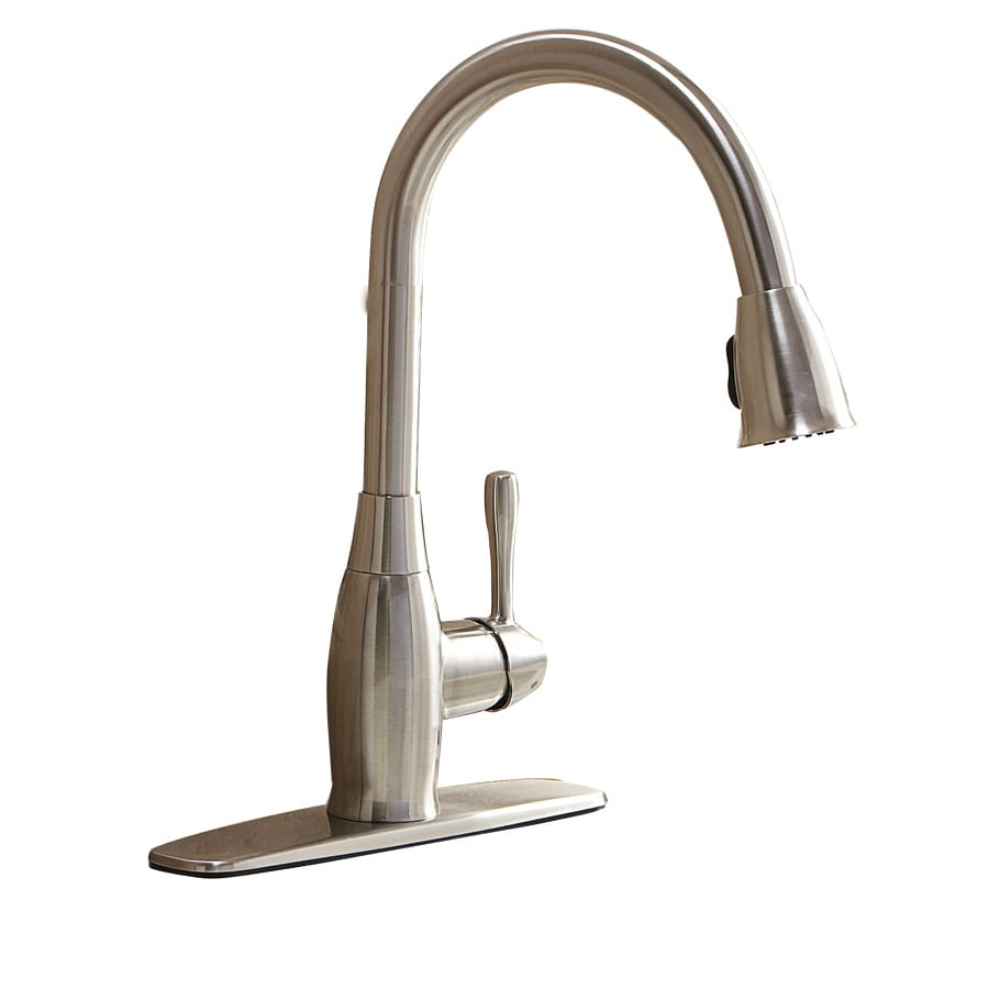 AquaSource Brushed Nickel 1-Handle Deck Mount Pull-Down Kitchen Faucet