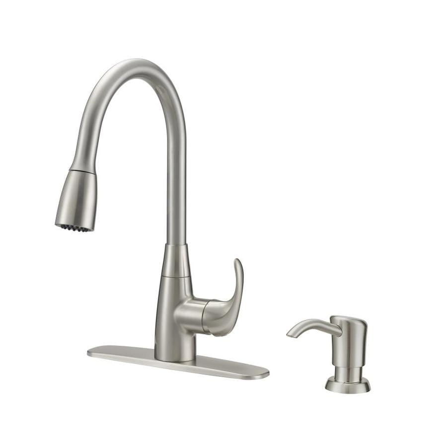 Project Source Brushed Nickel 1 Handle Deck Mount Pull Down Kitchen Faucet
