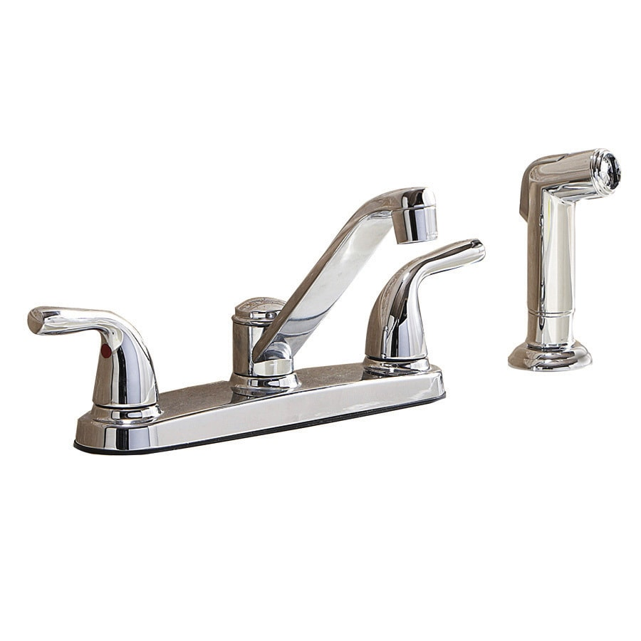 shop aquasource chrome 2 handle low arc kitchen faucet with side spray at lowes