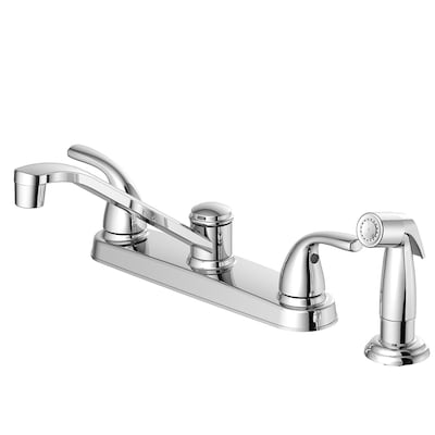 Chrome 2-Handle Deck Mount Low-Arc Residential Kitchen Faucet