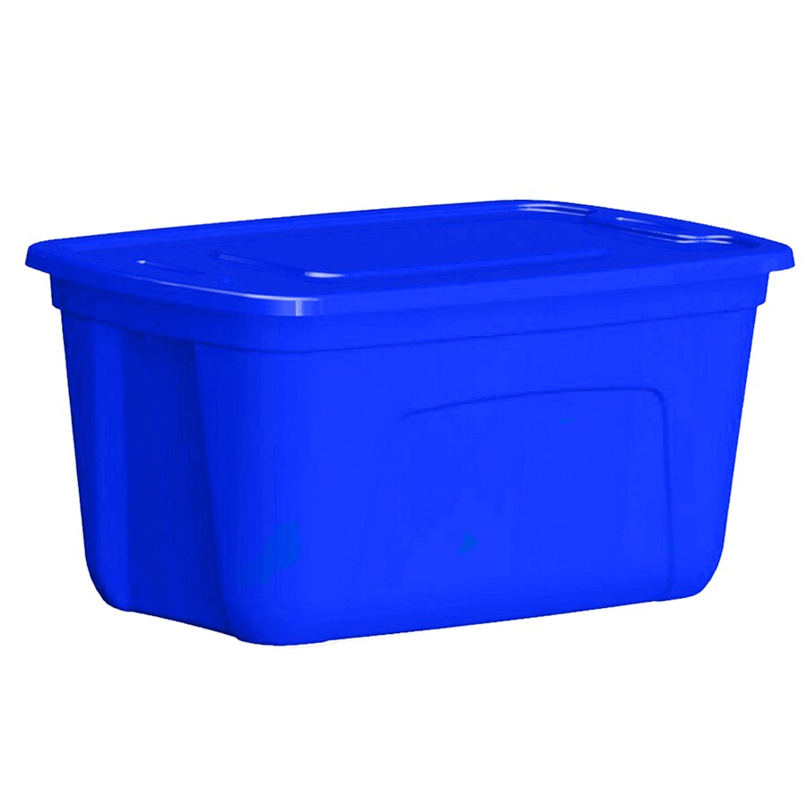 Style Selections 30-Gallon Blue Tote with Standard Snap Lid