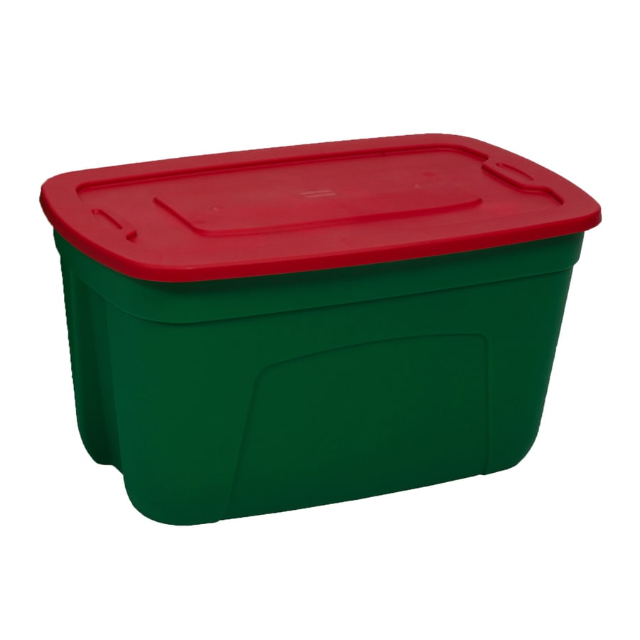 Style Selections Holiday Green/Red 30-Gallon Green Tote with Standard Snap Lid