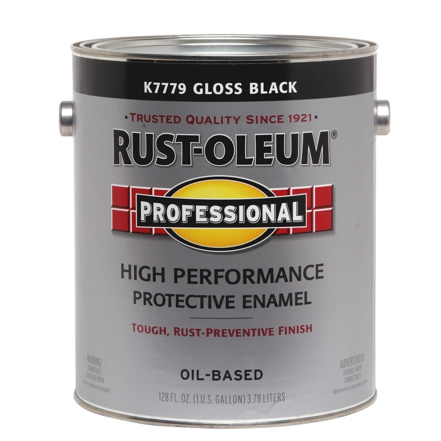 Rust oleum professional black gloss enamel interior exterior paint actual net contents 128 fl for Rustoleum exterior metal paint
