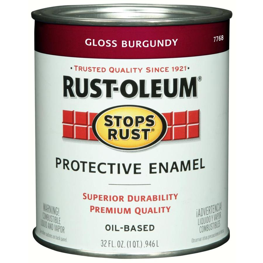 Rust-Oleum Stops Rust Burgundy/Gloss Gloss Oil-based Enamel Interior/Exterior Paint (Actual Net Contents: 32-fl oz)