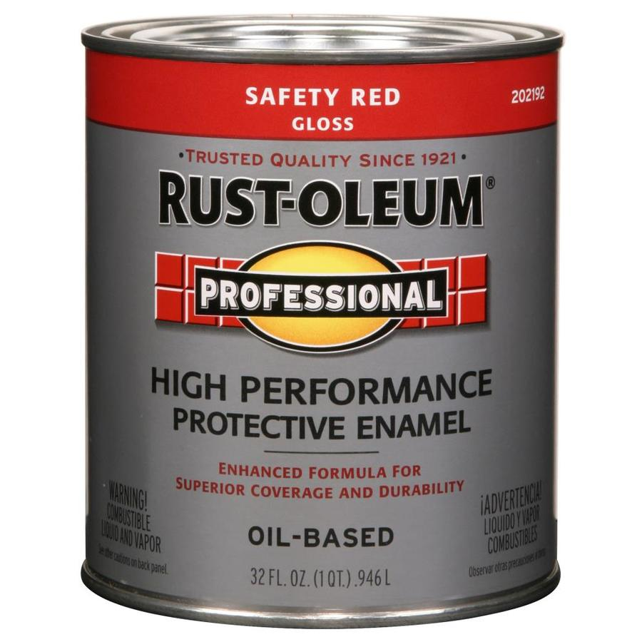 Rust Oleum Professional Safety Red Gloss Oil Based Enamel Interior Exterior Paint Actual Net Contents 32 Fl Oz