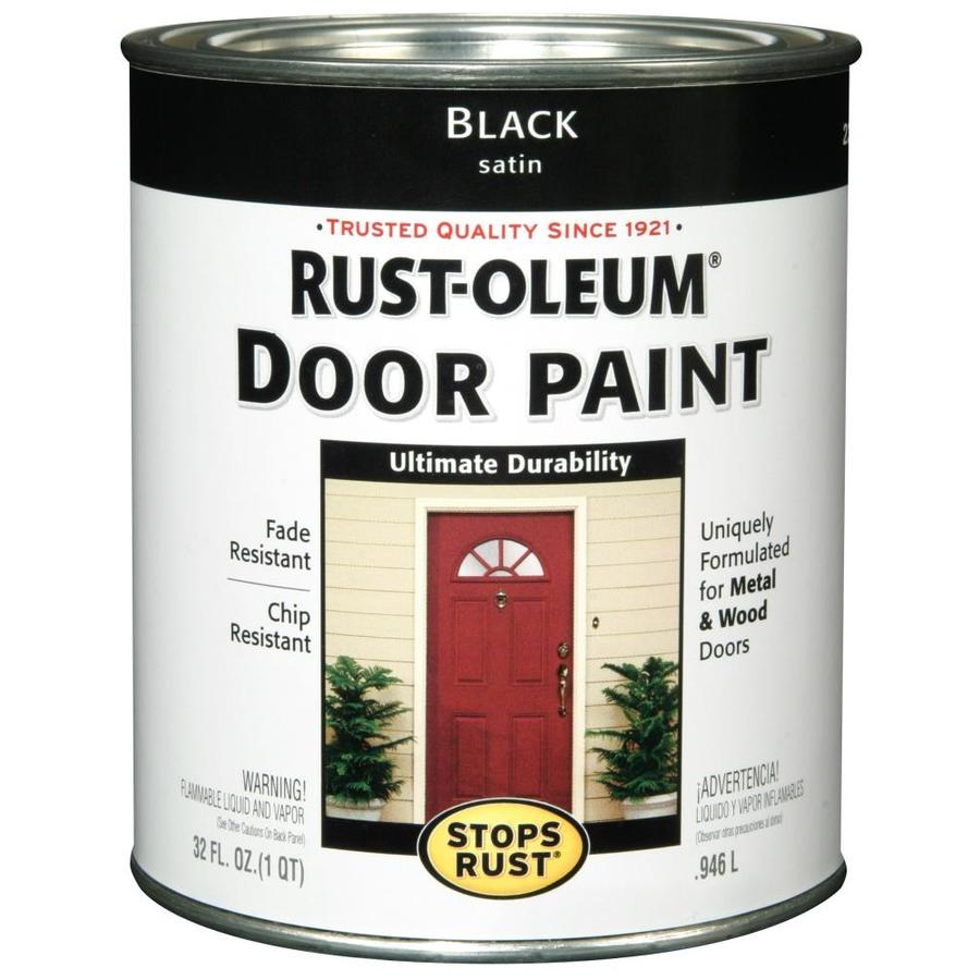Shop rust oleum black satin satin enamel interior exterior paint actual net contents 32 fl oz for Rustoleum exterior metal paint