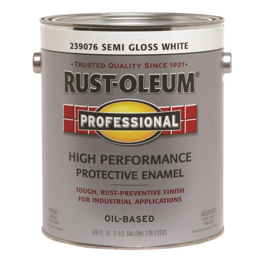 Shop Rust Oleum Professional White Semi Gloss Semi Gloss Oil Based Enamel Interior Exterior