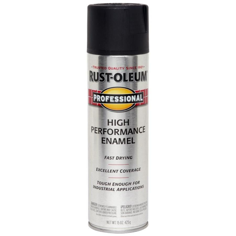 Shop Rust Oleum Professional Black Enamel Spray Paint Actual Net Contents 15 Oz At