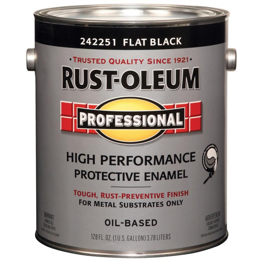shop rust oleum professional black flat oil based enamel interior exterior paint actual net. Black Bedroom Furniture Sets. Home Design Ideas