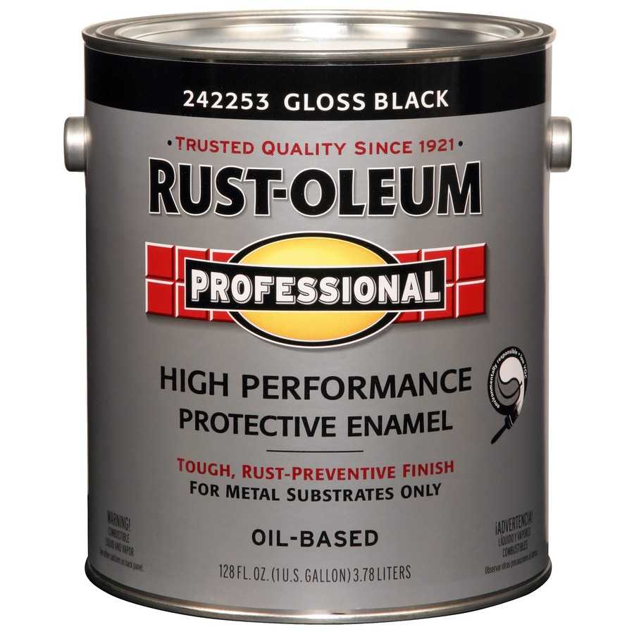 Shop rust oleum professional black gloss enamel interior exterior paint actual net contents for Rustoleum exterior metal paint