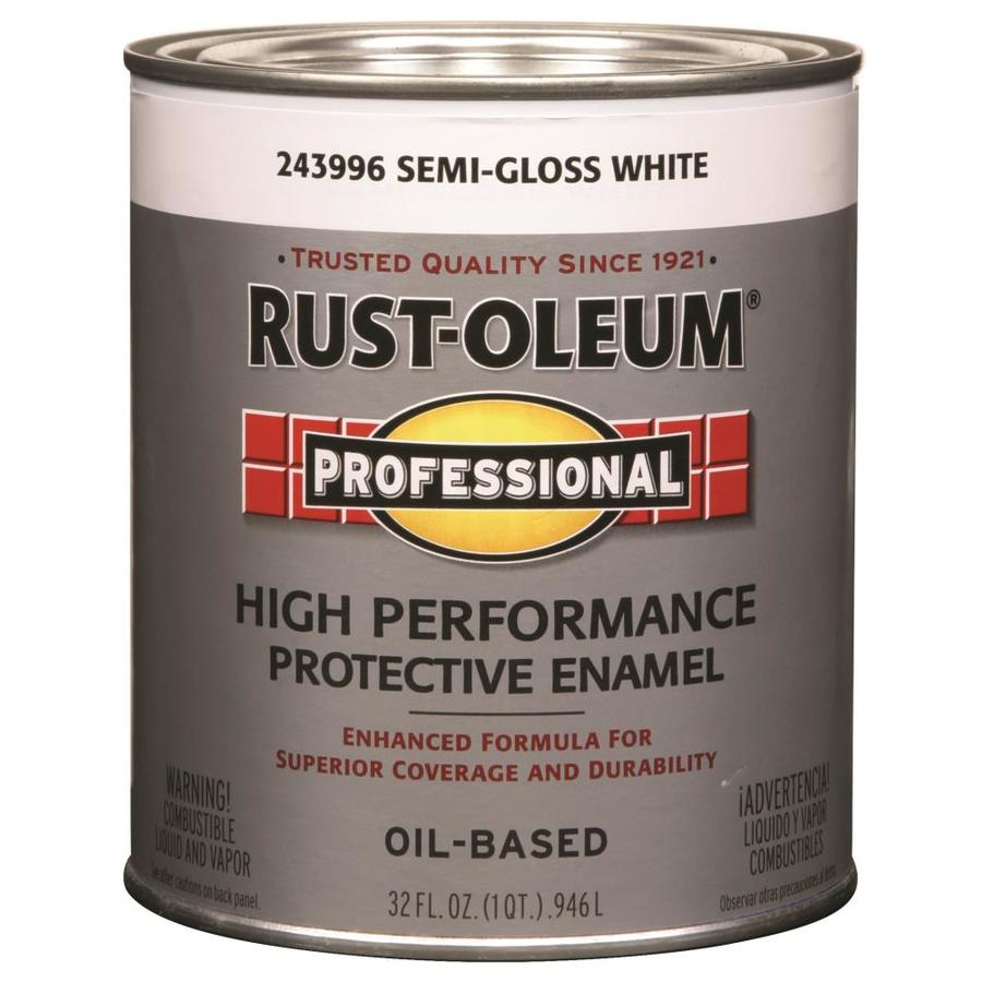 Shop Rust Oleum Professional White Semi Gloss Oil Based Enamel Interior Exterior Paint Actual