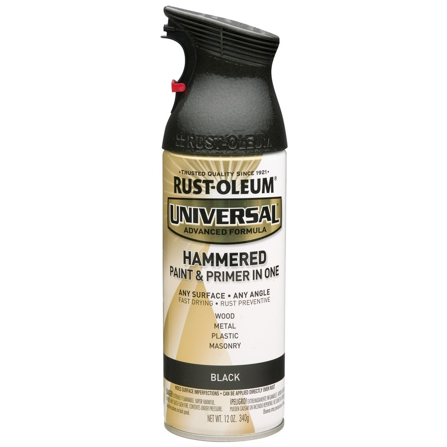 Shop rust oleum universal black hammered enamel spray paint actual net contents 12 oz at Black metal spray paint