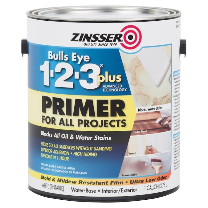 Zinsser Bulls Eye Interior Exterior Multi Purpose Water Based Wall And Ceiling Primer Gallon In The Primer Department At Lowes Com