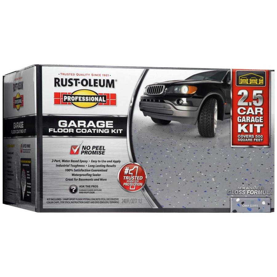 rust oleum high performance 2 part gray gloss garage floor epoxy kit actual - Garage Kits Lowes
