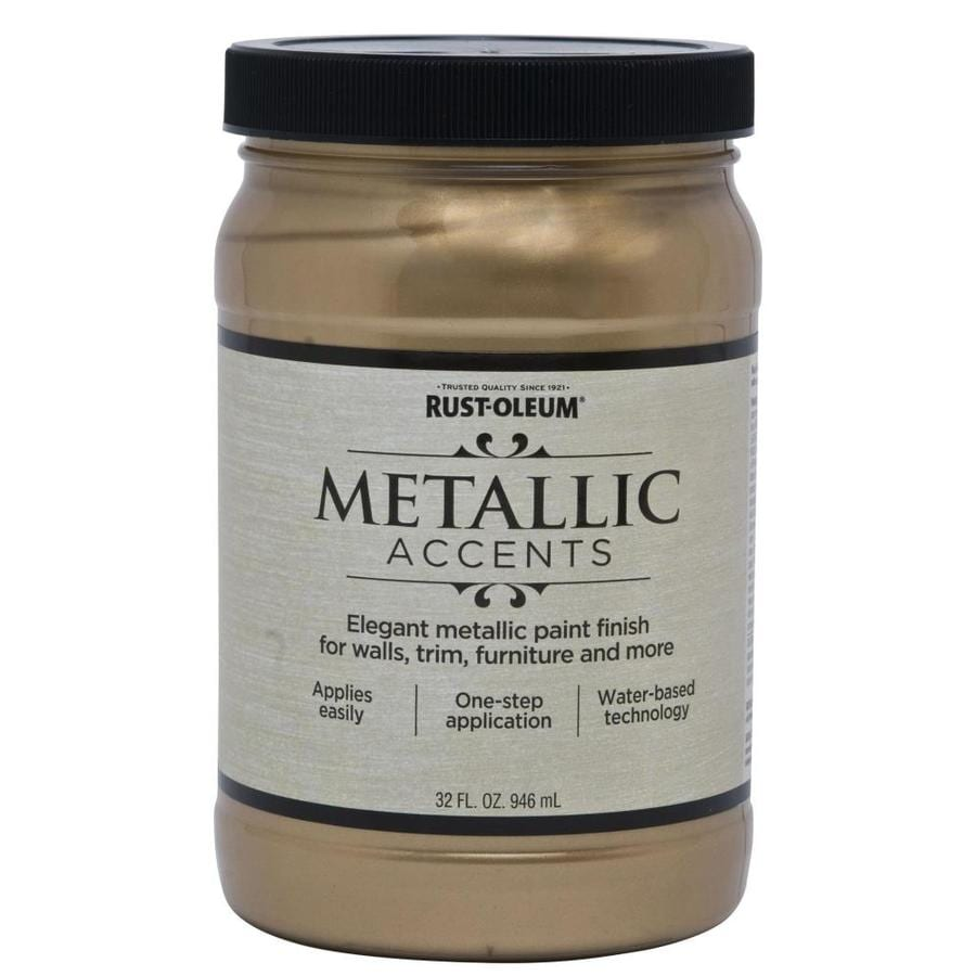 Rust Oleum American Accents Soft Gold Gloss Metallic Latex Interior Paint Actual Net Contents