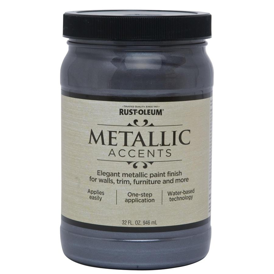 Rust-Oleum Metallic Accents Real Pewter Metallic Gloss Metallic Latex Interior Paint (Actual Net Contents: 32-fl oz)
