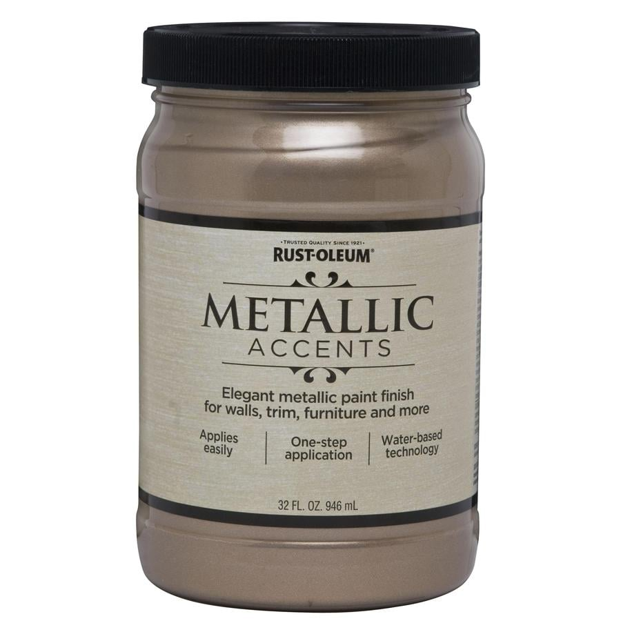 Shop rust oleum metallic accents gloss champagne metallic latex paint actual net contents 32 for Rustoleum exterior metal paint