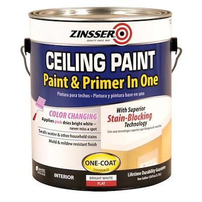 Ceiling Ready Mix Flat Bright White Latex Enamel Paint Actual Net Contents 128 Fl Oz