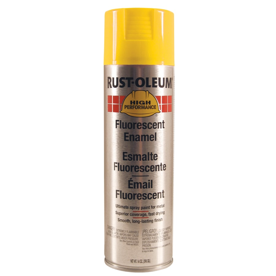 Shop Rust Oleum High Performance Yellow Fluorescent Fade Resistant Enamel Spray Paint Actual