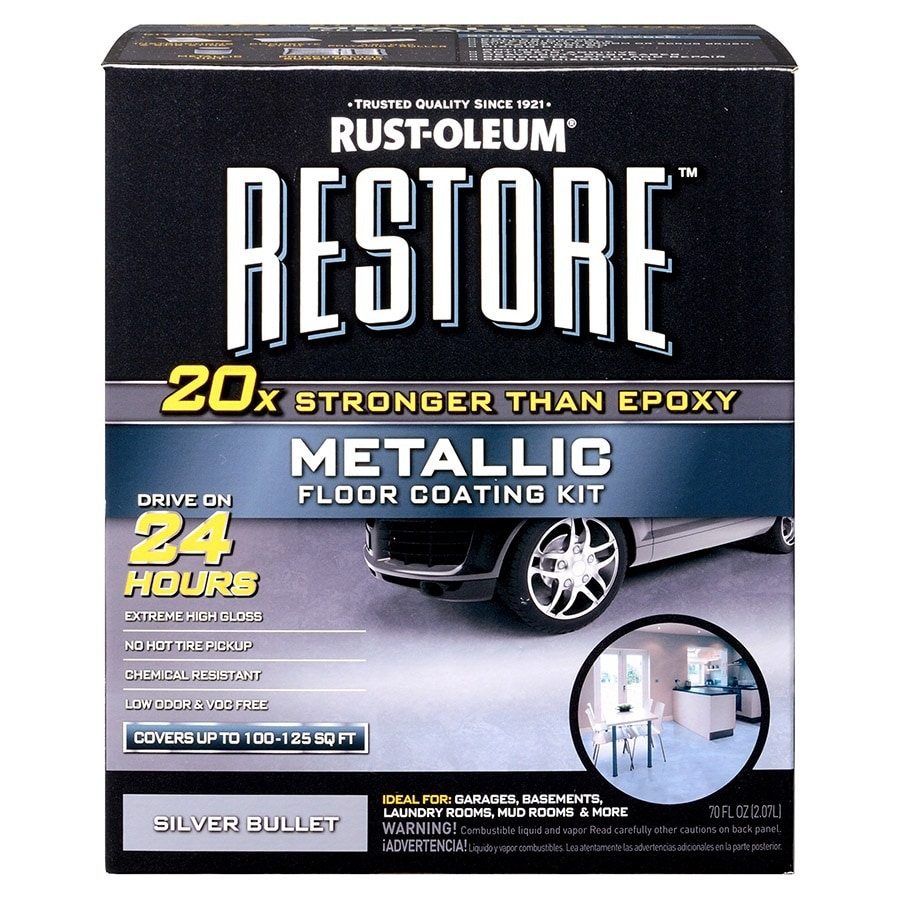 Rust-Oleum Restore 2-Part Silver Metallic Gloss Garage Floor Epoxy Kit (Actual Net Contents: 70-fl oz)