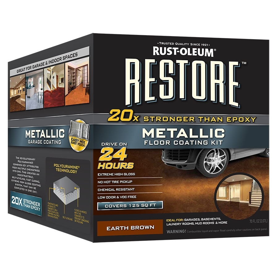 floor oleum garage stain coating feature lowes makeover kit metallic acid rust rustoleum