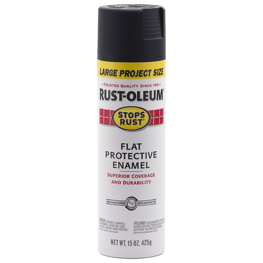 Rust Oleum Stops Flat Black Spray Paint Actual Net Contents 15 Oz