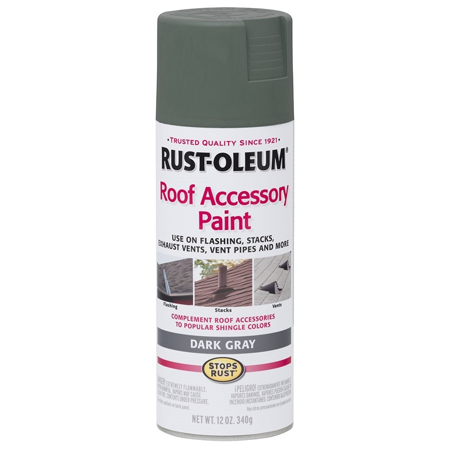 Shop Rust Oleum Roof Accessory Dark Gray Enamel Spray Paint Actual Net Contents 12 Oz At
