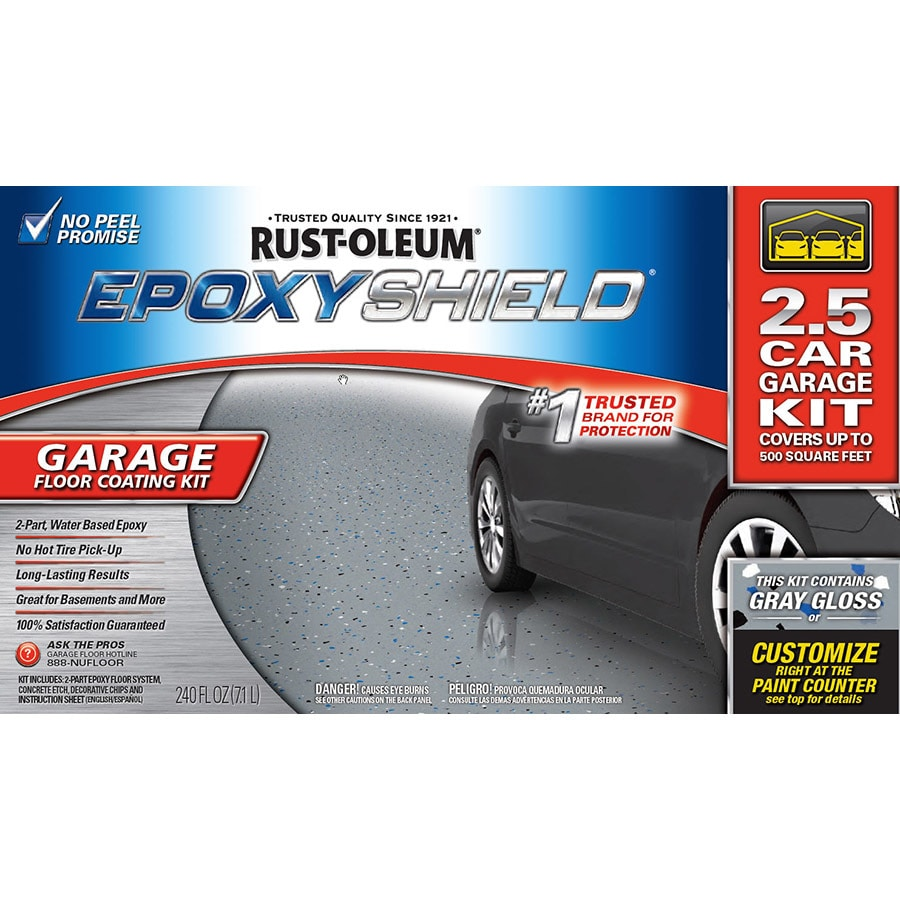 rust oleum epoxyshield 2 part gray gloss garage floor epoxy kit actual net - Garage Kits Lowes