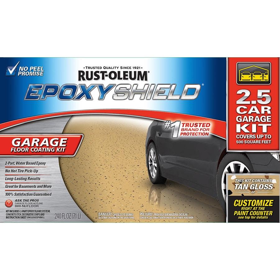 Rust Oleum Epoxyshield 2 Part Tan Gloss Garage Floor Epoxy Kit