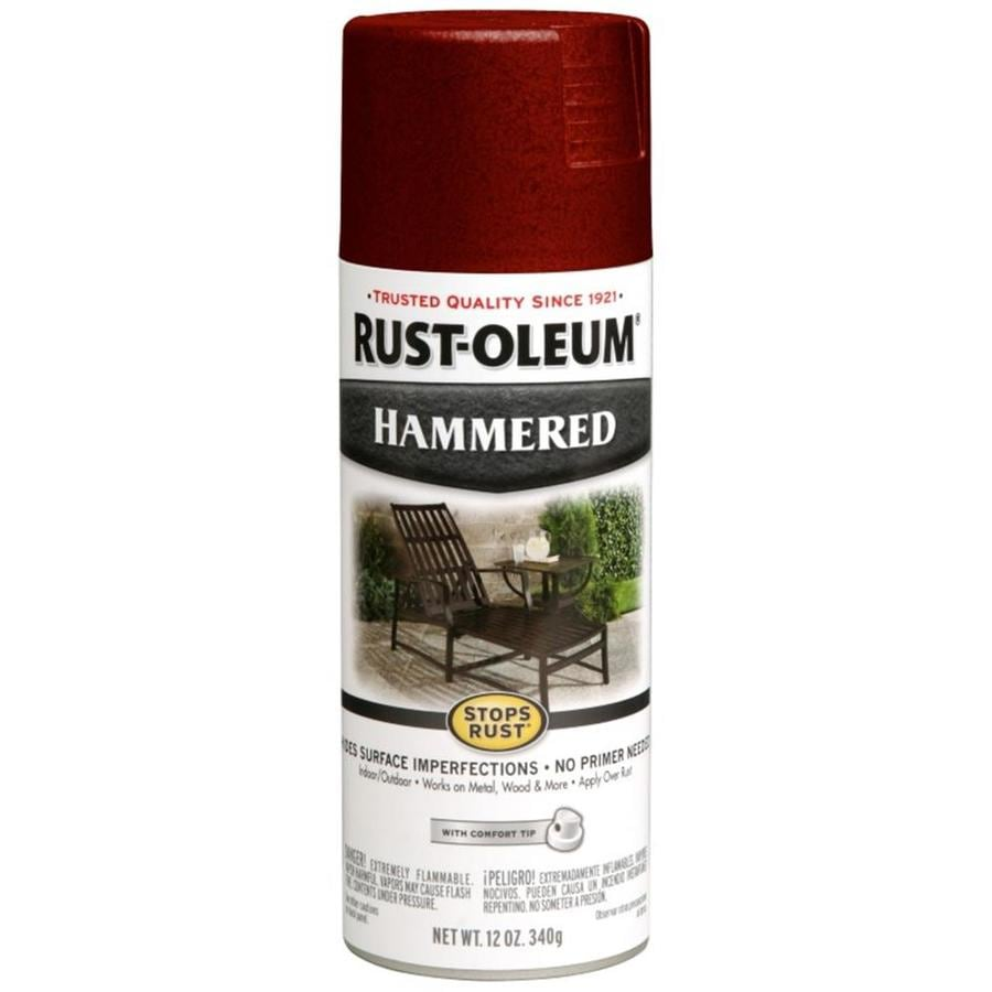 Shop Rust Oleum Stops Rust Bright Red Hammered Enamel Spray Paint Actual Net Contents 12 Oz