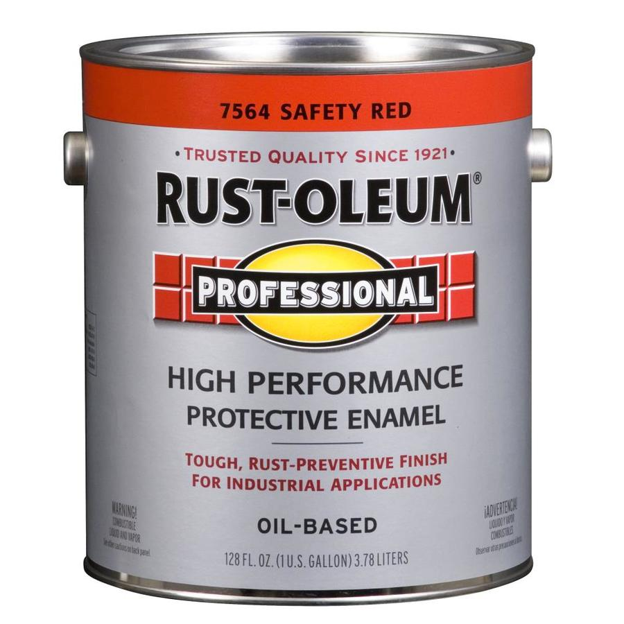 Rust Oleum Professional Safety Red Gloss Oil Based Enamel Interior Exterior Paint Actual Net Contents 128 Fl Oz
